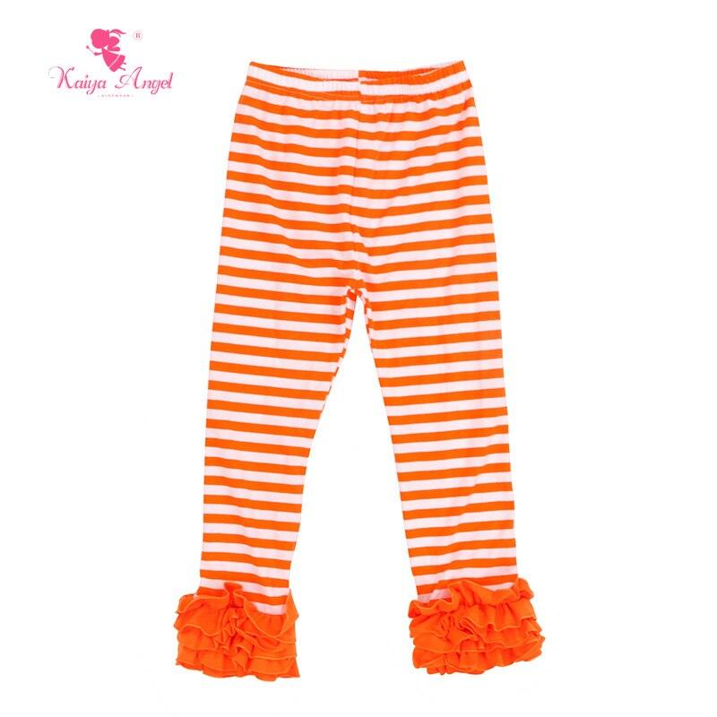kaiya angel halloween girl leggings ruffles icing leggings pants stripe orange white stripe kids pants children pants in pants from mother kids on