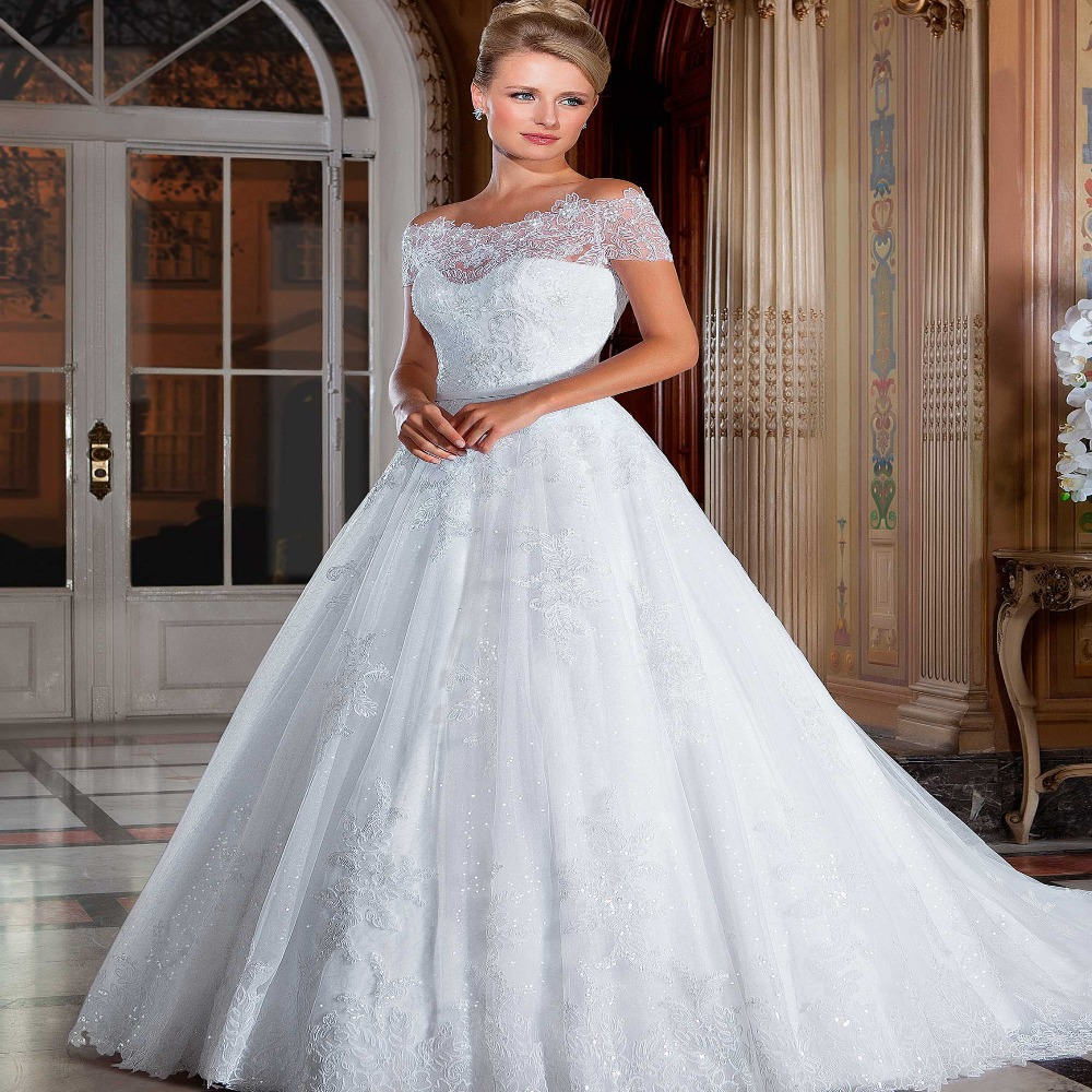 Romantic Off The Shoulder Lace Wedding Dress 2015 With