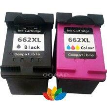 2 pacote cartucho de tinta 662 recarregáveis para hp deskjet vantagem de tinta 2645 3515 3545 4515 4645 impressora completa