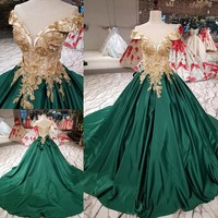 Dark Green Satin Wedding Dresses Pearls for Women Lace up Pearls Sheer Neck Court Train Real Photos Puffy Long Bridal Gowns 2019