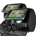 """Xtrons preto 2x9 """"encosto de cabeça monitor de dvd player do carro com tela digital/ir/fm transmitter capa zipper + 2x ir fones de ouvido"""