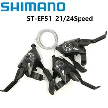 SHIMANO ST EF51 Bicycle Derailleur 3*7/8 21/24 Speed Conjoined DIP Shift Lever Brake Levers Mountain/Folding Bike Shifter EF500(China)