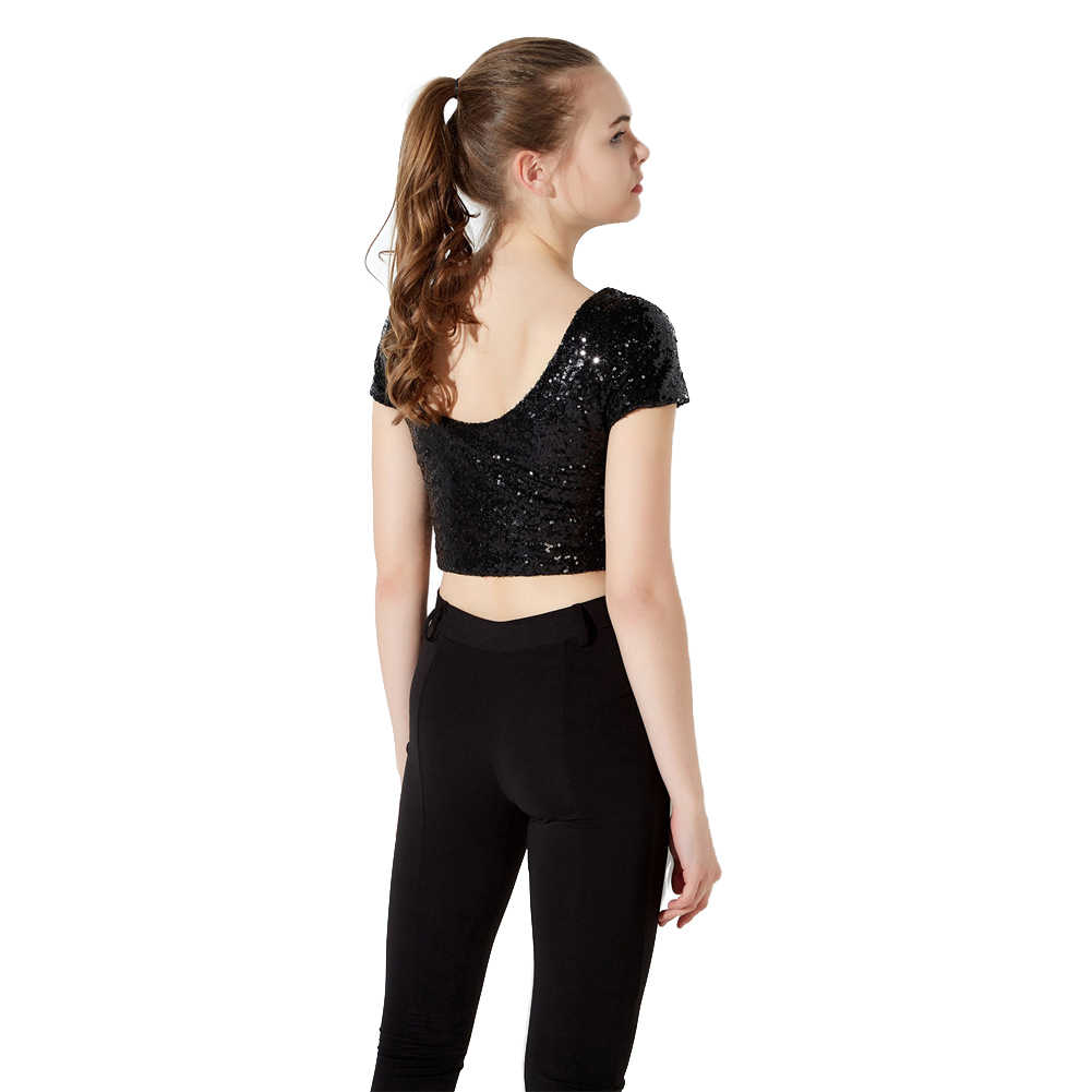 d19cd2ccb ... Korea Fashion Glitter Tops Women T Shirt Crop Top with Sequin Open Back  Round Neck Short ...