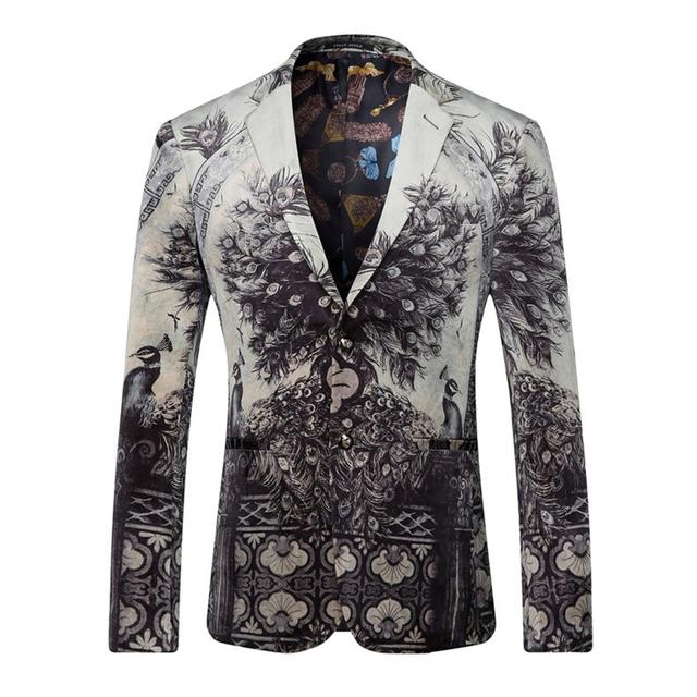 Men Blazers And Jackets 2016 Peacock Printed Blazer Men Fashion Designer Suit Blazer Masculino Casual Coat Wedding Dress Q205