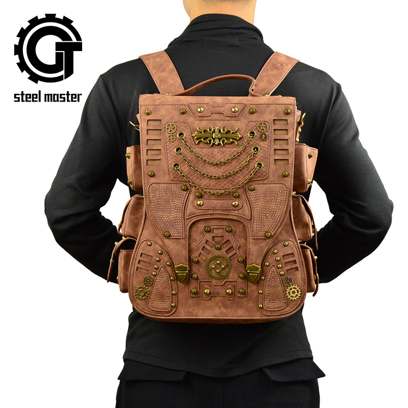 Retro Rivet Punk Men Backpack Gothic PU Leather Fashion Travel Bag Steampunk Women Backpacks Brown Cool School Bags 3d lion leather backpacks fashion men school travel computer backpack bags personality silver gold rivet animal bags halloween