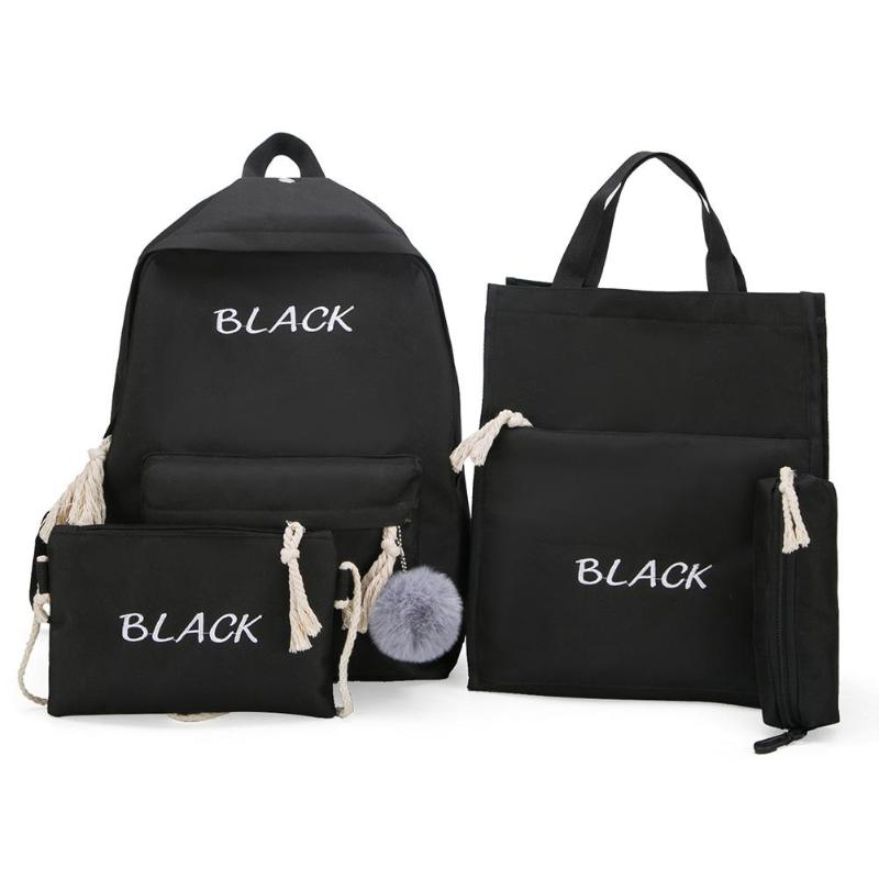 4pcs/Set Women Backpacks Set Canvas Letter Teenager School Bags Casual Style Women Travel Backpack Pen Bags Sac A Dos Femme 2019