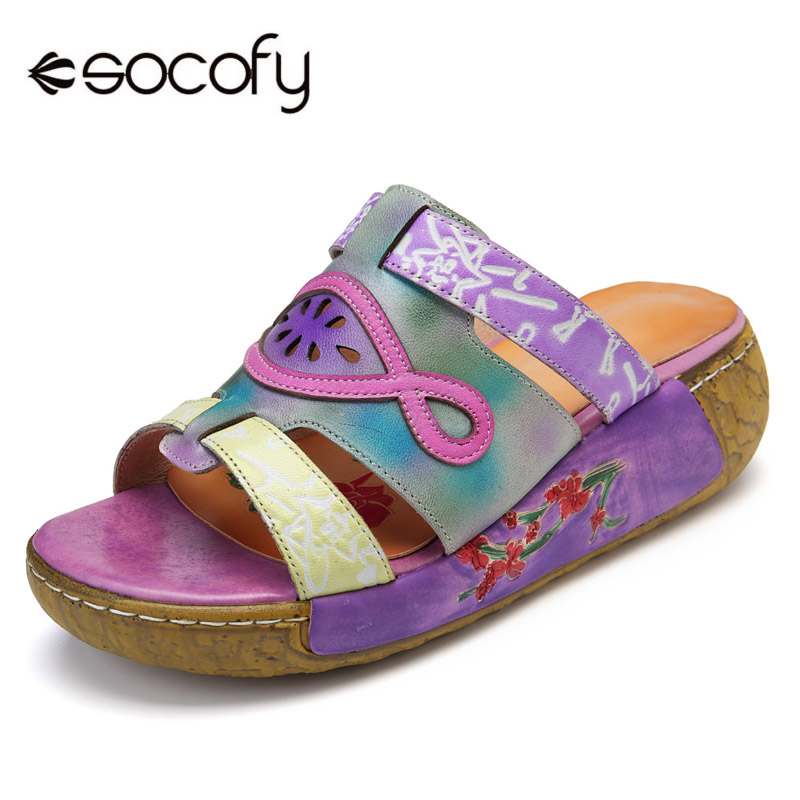 Socofy Vintage Platform Slippers Genuine Leather Shoes Woman Bohemian Basic Beach Slippers Slides Casual Summer Women Shoes New 2017 new summer shoes woman slippers cozy leather classic slippers designer woman outside slippers tide woman shoes slippers