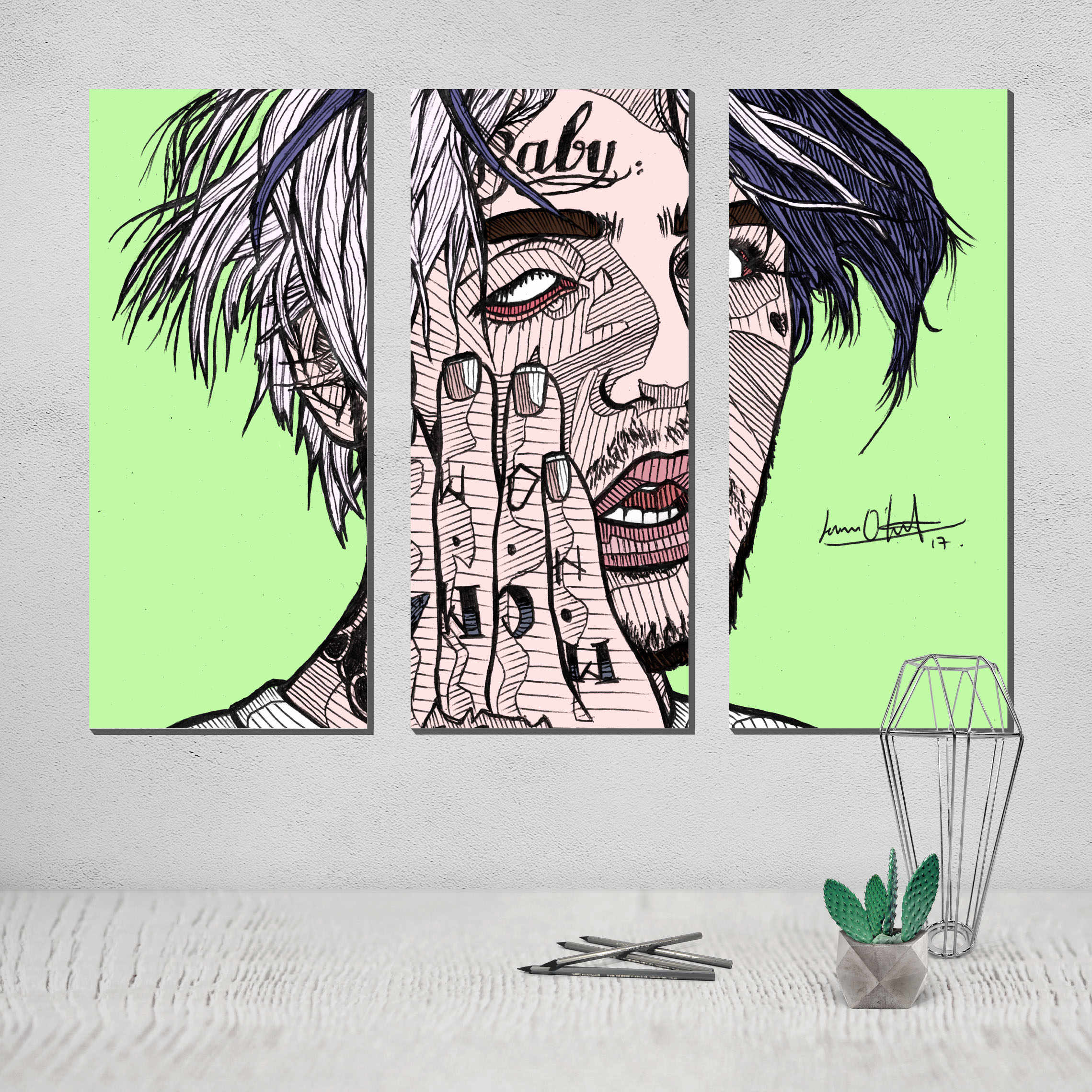 Imagenes Cuadros Photo Canvas Poster Lil Peep Canvas 3 Panel Wall Art Painting Cuadros Decoracion Tableau Decoration Murale Salon Plakat Obrazek