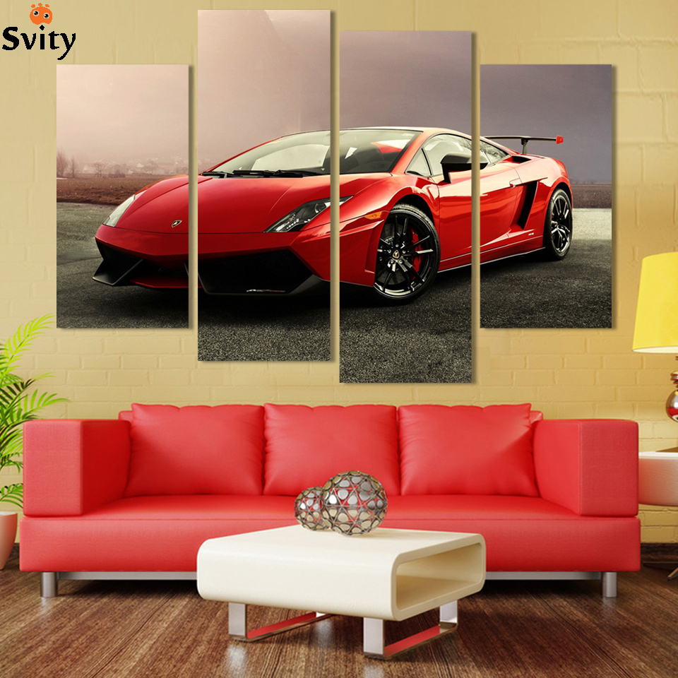 4 Pcs Red Sports Car Wall Art Picture Home Decoration Living Room Canvas Print Painting