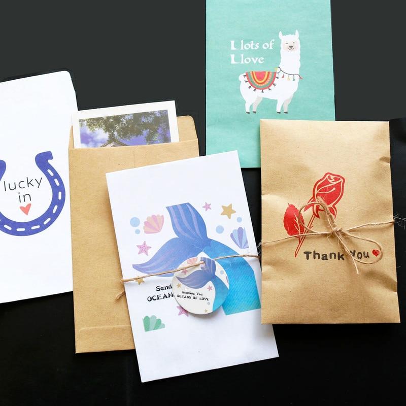 Envelopes Card-Bags Paper Unicorn Kraft Wedding-Invitation Llama Party Favor Candy Handmade