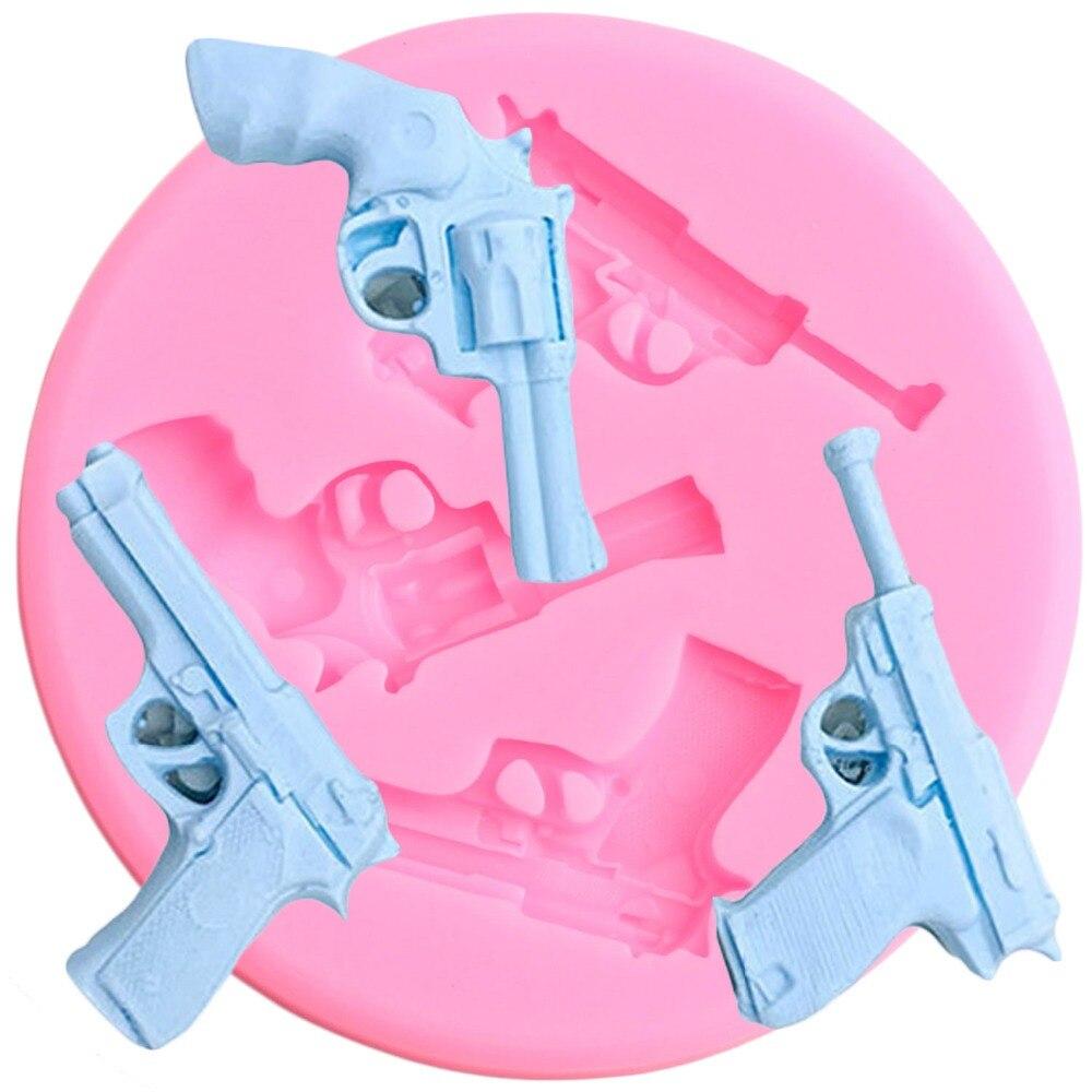 3D детский игрушечный пистолет, силиконовая форма, кекс «сделай сам», Topper Fondant, формы для украшения детского торта на день рождения, конфетная...