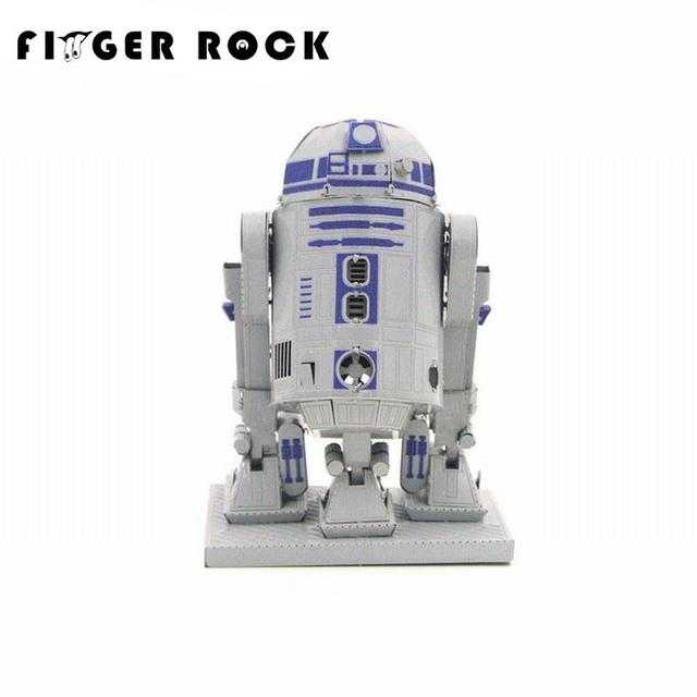 Finger Rock R2D2 Puzzle 3D Metal Model DIY Laser Cutting Stainless Steel Assembly Jigsaw Toys for Adults
