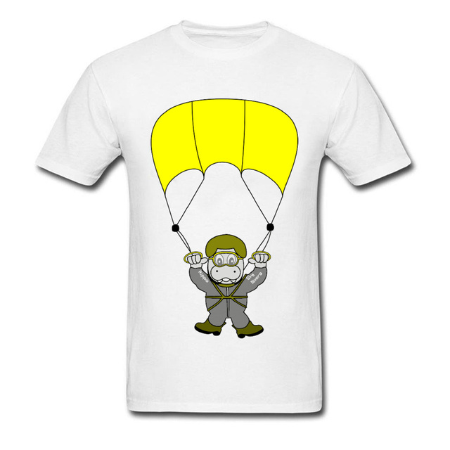 baaf8884d Skydiver Fun Hippo Skydiving Tshirt Custom Cartoon Print T-Shirts For  Student Funny Design Cute Graphic Tee shirts No Button