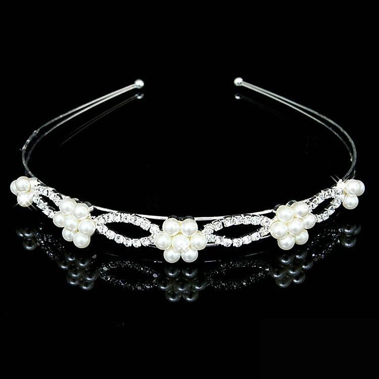 New Shiny Crystal Rhinestone Pearl Headband Silver Wedding Party ... 7a2e0ee8916e