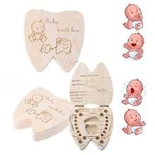 Bebê lembranças dente caixa grego/espanhol/inglês/russo/francês/italiano de madeira leite dentes organizador caixa de armazenamento para meninos meninas
