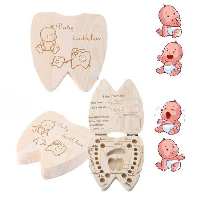 Baby Souvenirs Tooth Box Greek/Spanish/English/Russian/French /Italian Wooden Milk Teeth Organizer Storage box for Boys Girls