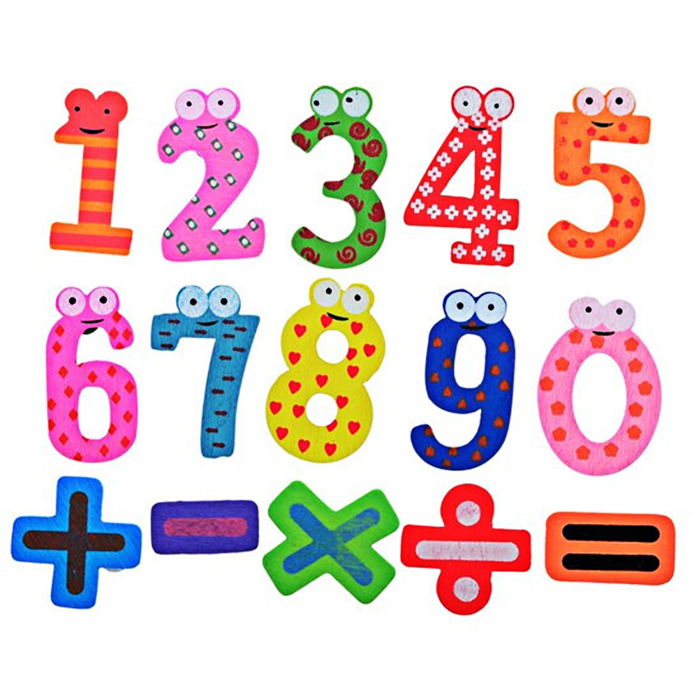 15pcs Wooden Magnet Baby Early Math Learning Educational Brain Training Intelligence Development Toy Refrigerator Message Board