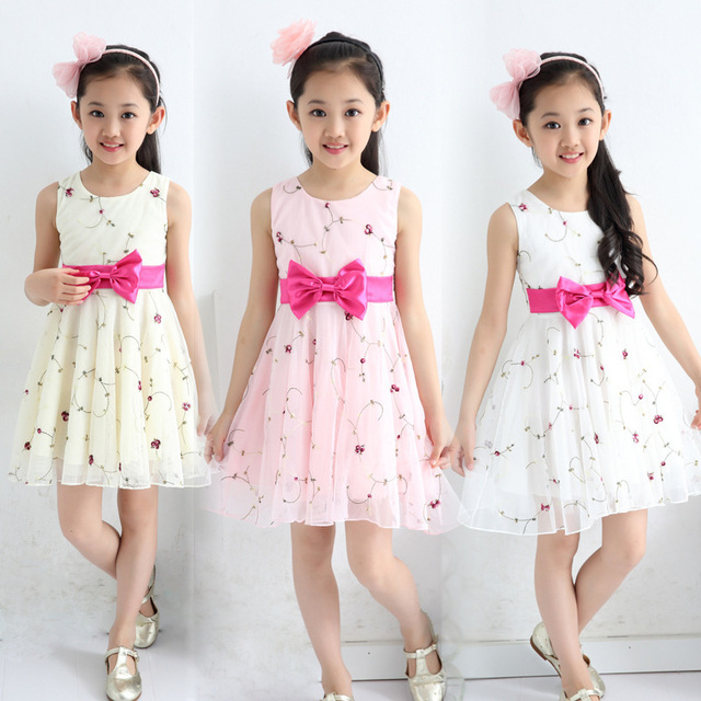 203abb1526 2018 new summer style girls cute embroidery flowers lace bow mesh princess  dress 3-12 age kids children sun dresses clothes 562D