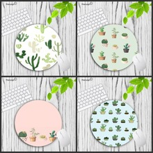 Mairuige Round Mouse Pad Cute Cacti in Pots Customize Your Own Image Good Quality Anti-Skid Table Mats