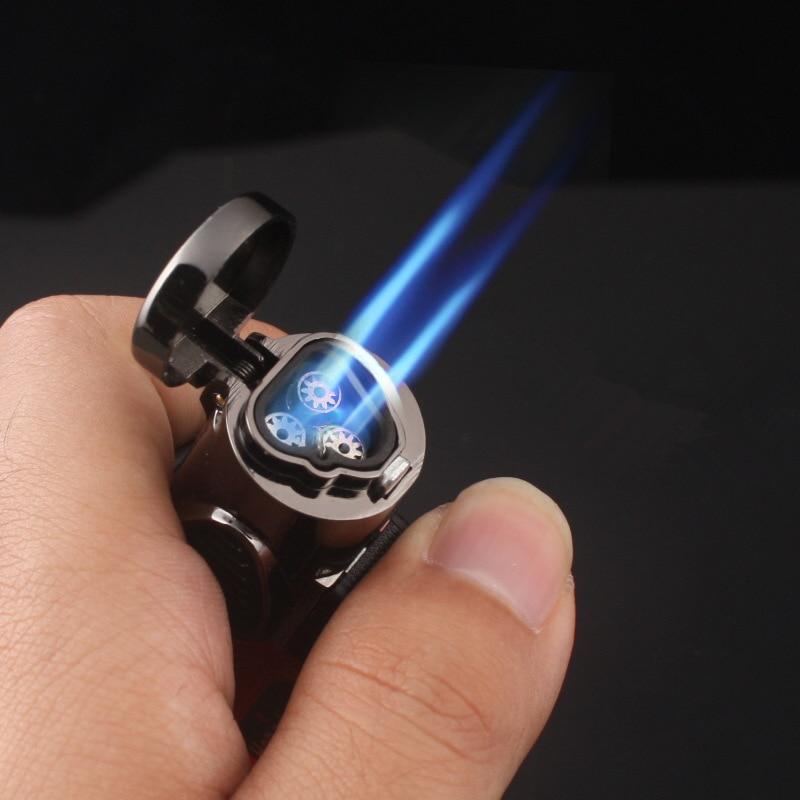 Triple Torch Lighter Powerful Jet Butane Pipe Cigar Lighter Portable Spray Gun Gas 1300 C Windproof Outdoor Gadgets For Man