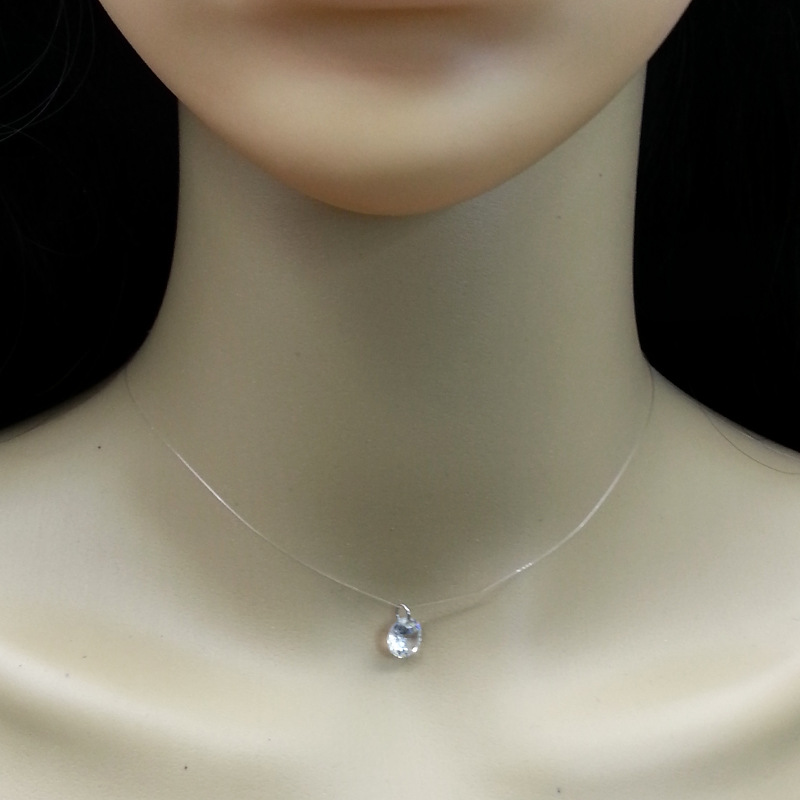 Fashion Simple Women crystal Necklace Mermaid tears transparent invisible crystal line necklace Best Gift jewelry N1139