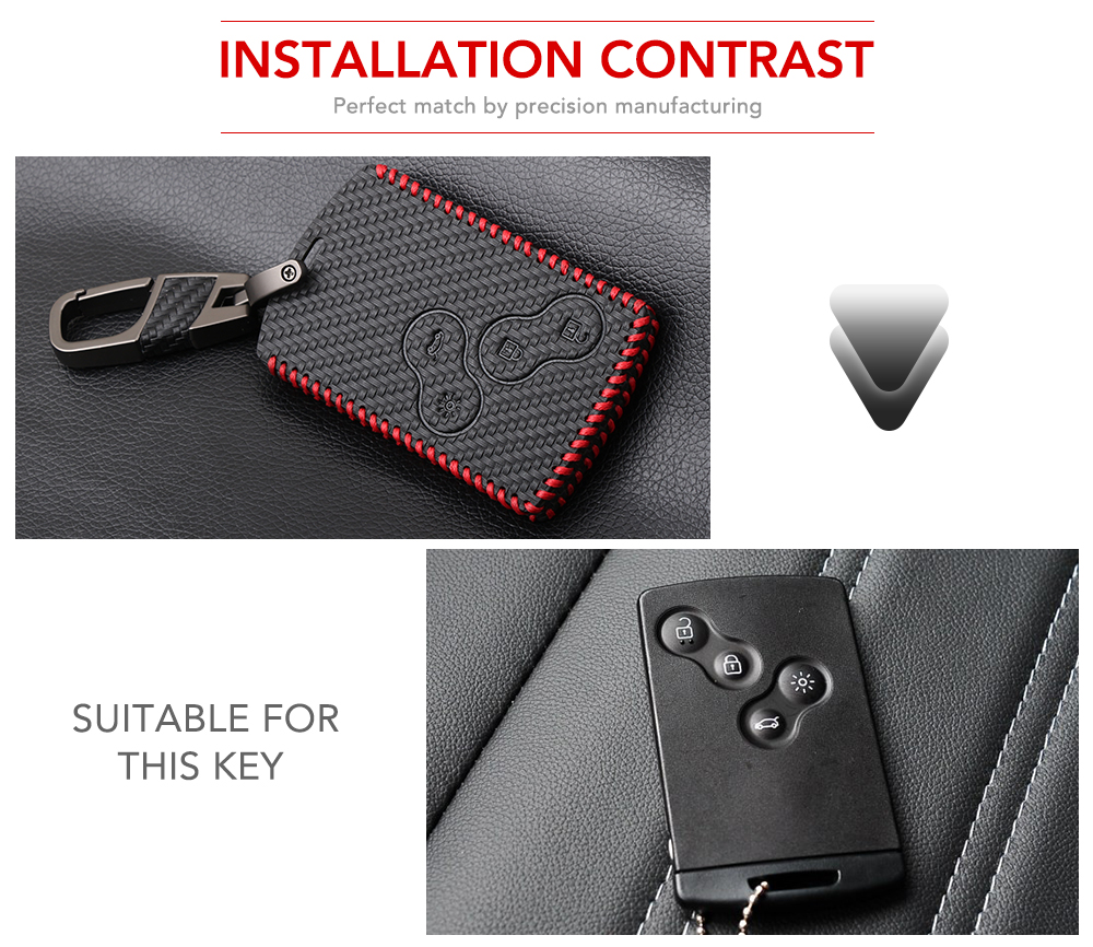 BLK Leather Key Remote Holder Cover Case Fob For Renault Koleos Fluence Laguna