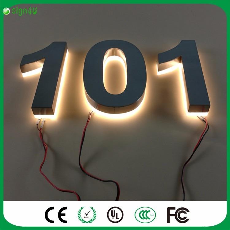 Custom 0 9 Moderne LED Verlichte Huisnummers Rvs Aantal LED in ...