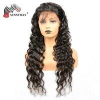 Sunnymay предварительно сорвал полный шнурок человеческих волос парики свободные волны бразильский Девы волос, парики с ребенком волос Glueless