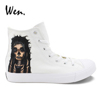 Wen Design Custom Hand Painted Shoes Candy Skull Girl Women Canvas Casual Flats White High Top