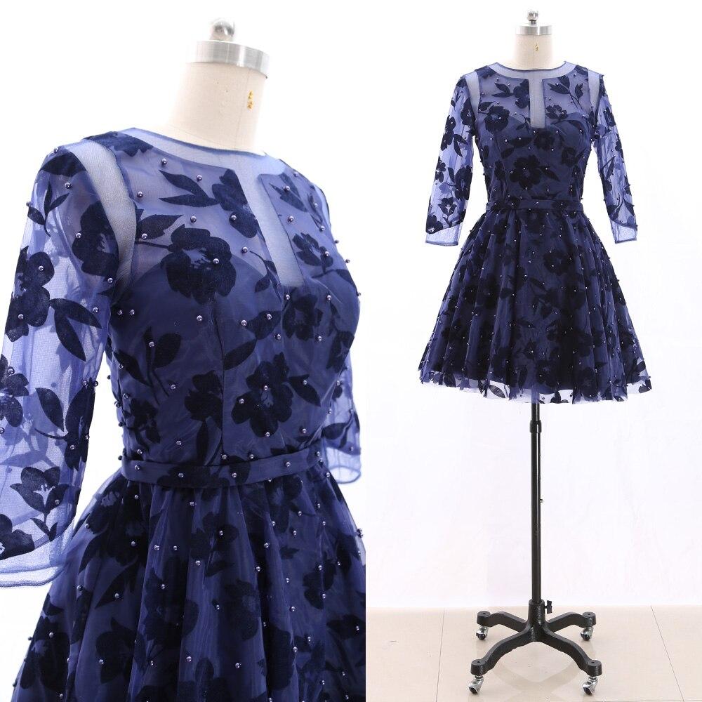 MACloth Dark Navy Short O Neck Knee-Length Short Beading Tulle   Prom     Dresses     Dress   S 265818 Clearance
