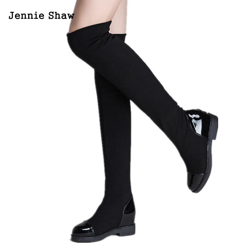 Super Thin Stretch Elastic Cloth Knee Boots Flat Bottomed Over The Knee High Boot Long Sexy high stretch u contour pouch long johns