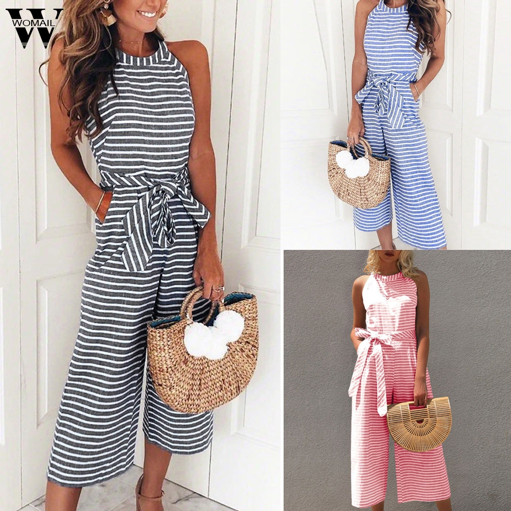 Womail bodysuit Women Summer Fashion Ladies Sleeveless Striped Jumpsuit Casual Clubwear Wide Leg Outfit new 2020 M4