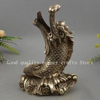 Pretty collectible decor white copper handwork carving fish dragon statue deco