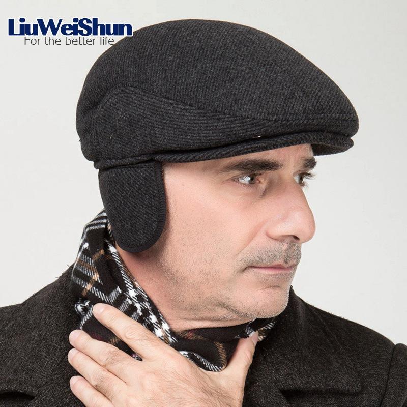 Los hombres de cuero de la PU de la nieve sombrero de papá espesar Rusia  invierno chaqueta sombreros hombre de sombrero con orejeras almizcle Casual  de ... f604639e74f