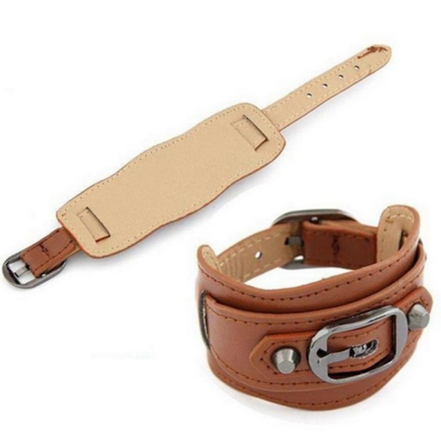 New Arrival! Multiple Color Wide Leather Belt Bracelet Adjustable Buckle Wristband Cuff Bangle Fashon Jewelry for Men Women