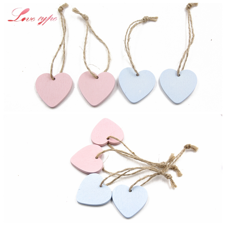 10PCS Mini Heart Wooden Pendants Ornaments Wood Craft Vintage Home ...