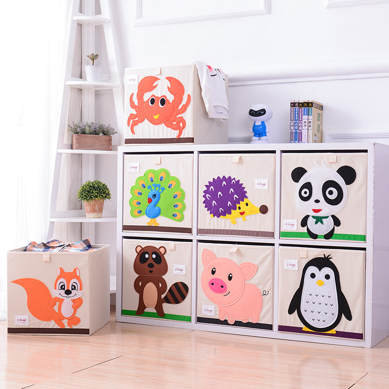 3D Embroider Cartoon Animal Folding Storage Boxes Children Clothes Toy Sundries Organizer Organic Cotton Cloth Toys Storage Bin