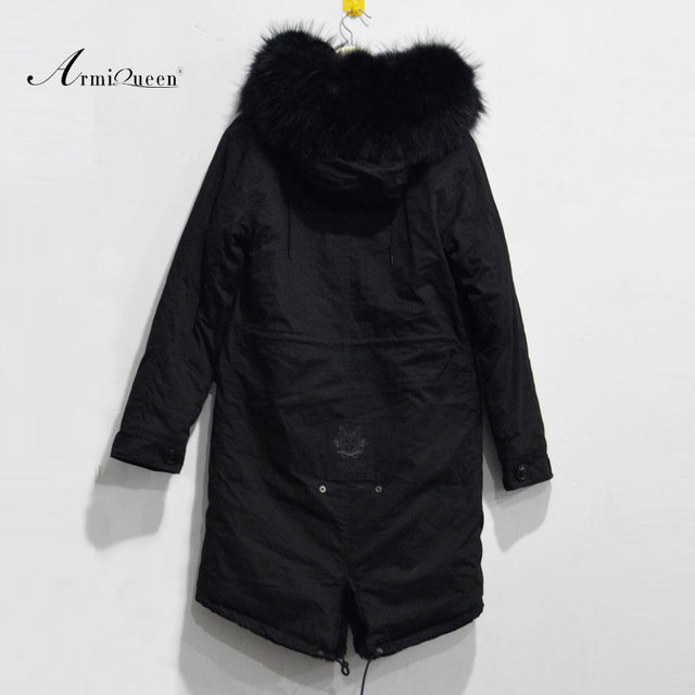 Long style winter free shipping women jacket with faux fur lining,real raccoon fur hood lady parka 3