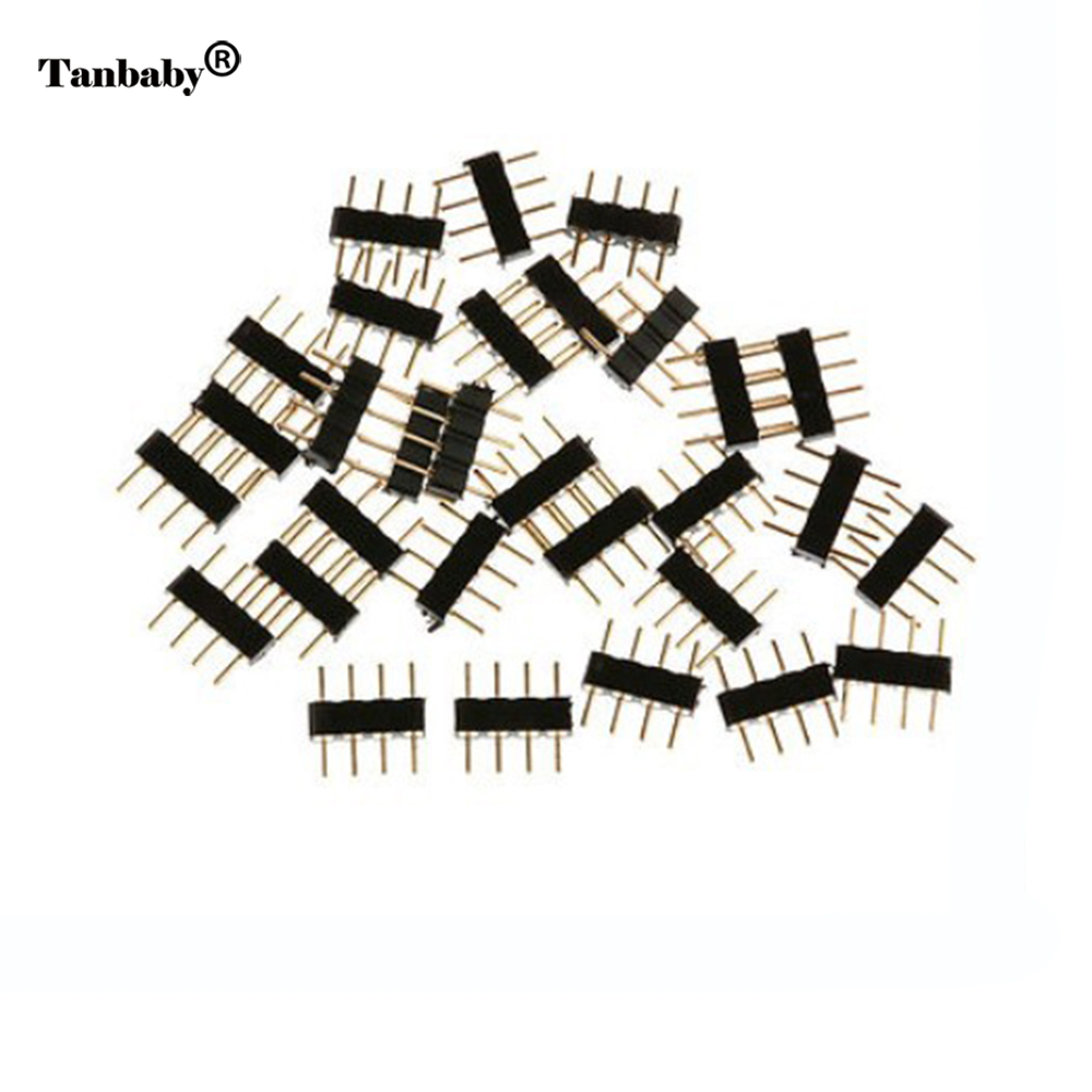 Tanbaby 4 Pin RGBConnector Adapter 5pin RGBW needle male type double For 5050 3528 LED Strip DIY lights insert 10pcs 4 pin rgb 5pin rgbw connector adapter pin needle male type double for rgb rgbw 5050 3528 led strip light led accessories