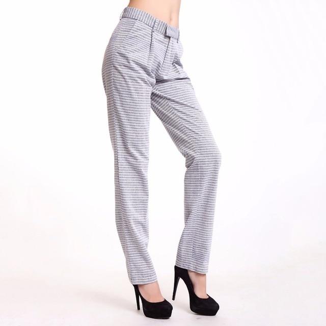 Linen Pants New Summer Women Cotton Linen Pant Casual Harem Women Wide Leg Striped Clear Blue Women Pants Soft Feel Wear