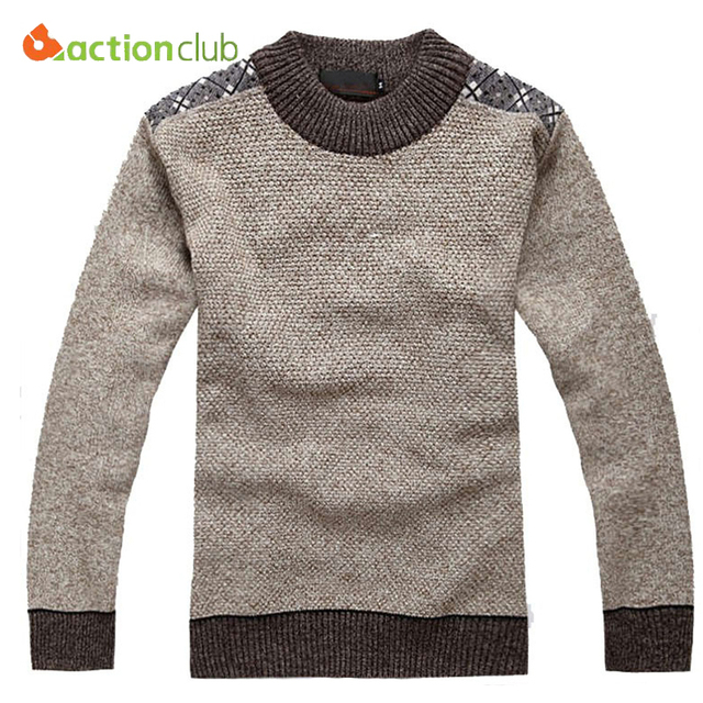 ACTIONCLUB New Fashion Mens Pure Color Sweaters High Quality Men ...