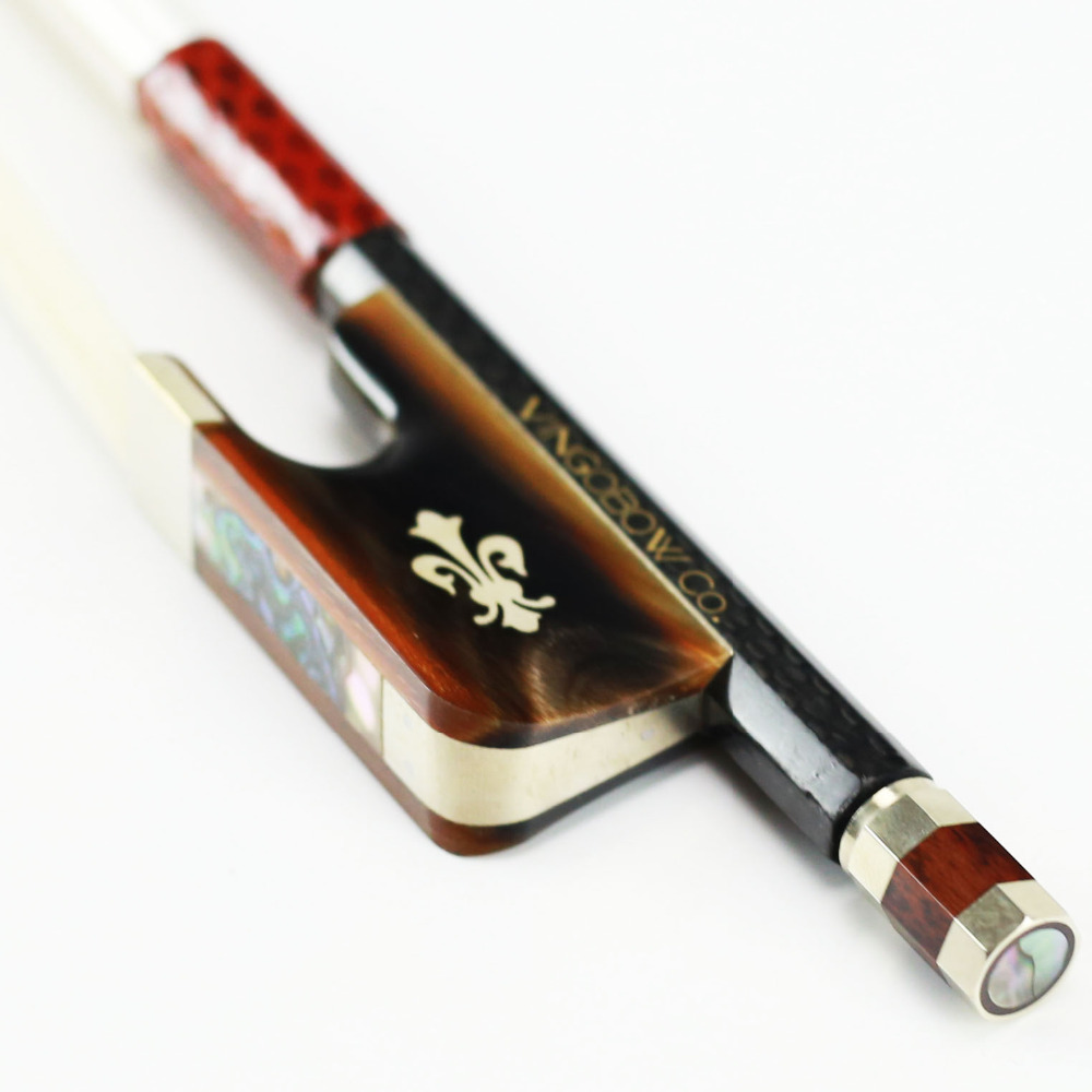 4/4 Size 118C Woven Carbon Fiber Cello Bow Natural Ox Horn Frog and Screw Nice White Mane Durable Straight Cello Accessories