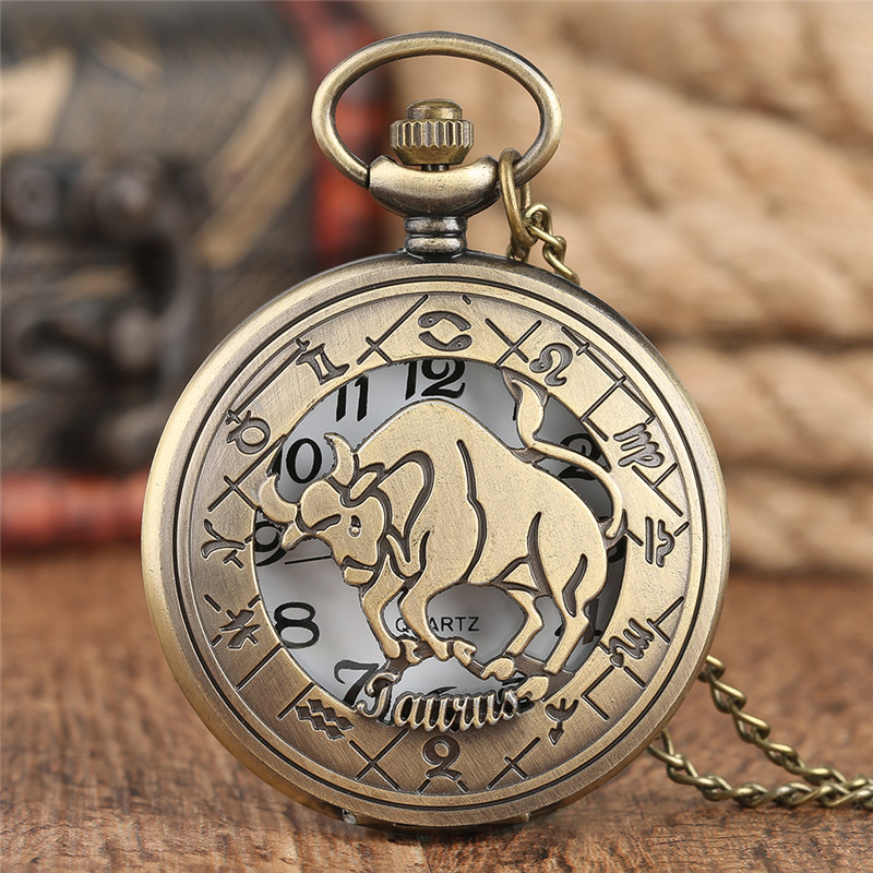 Classic Constellation Pocket Watch Fine Hollow Taurus Cover Pendant Chain Special Children Gifts Anniversary Couple Clock Hour