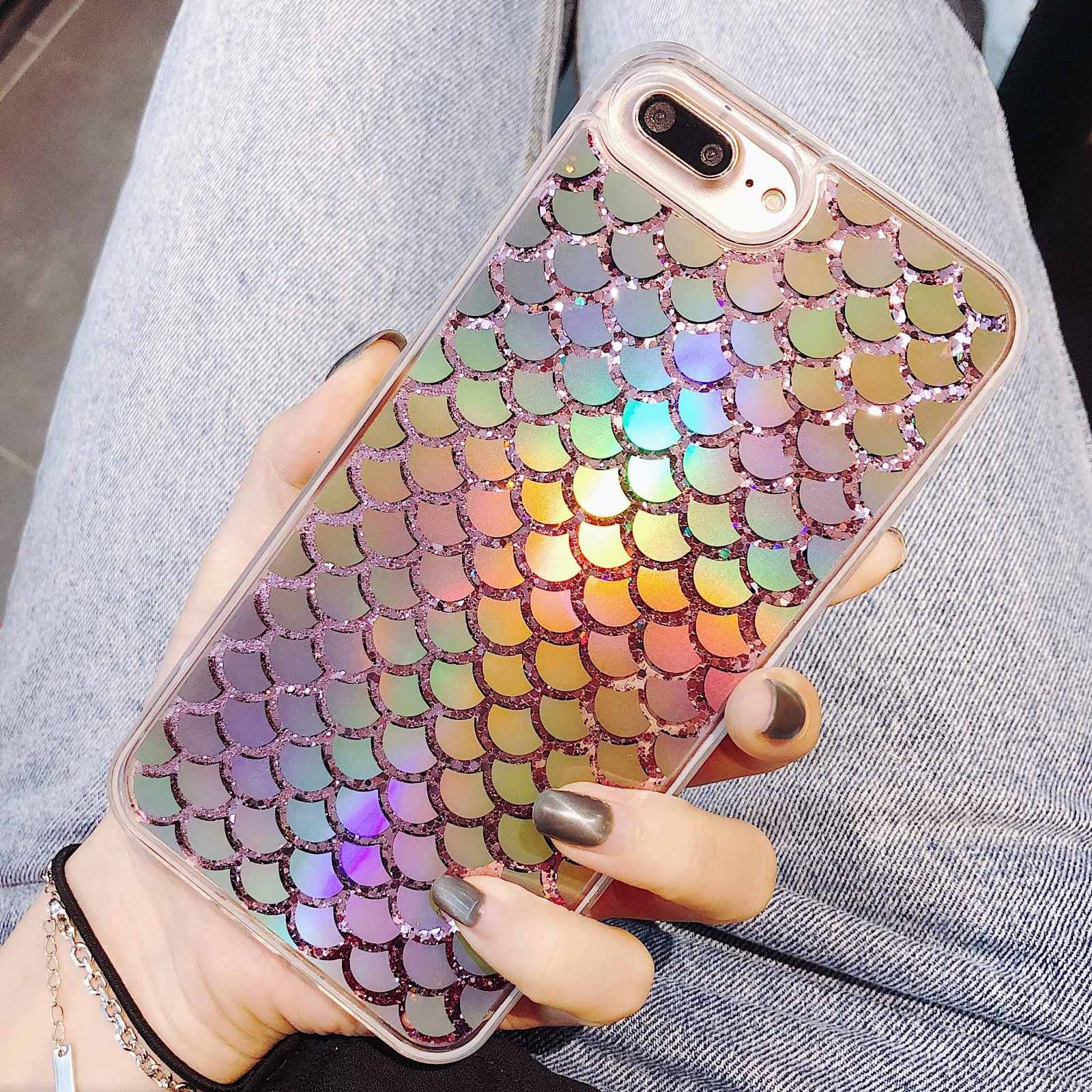 Bling Liquid Dynamic Quicksand Laser Mermaid fish Scales Glitter Shinny Phone Cases For iPhone X XS MAX XR 7 8 6 6S plus Cover