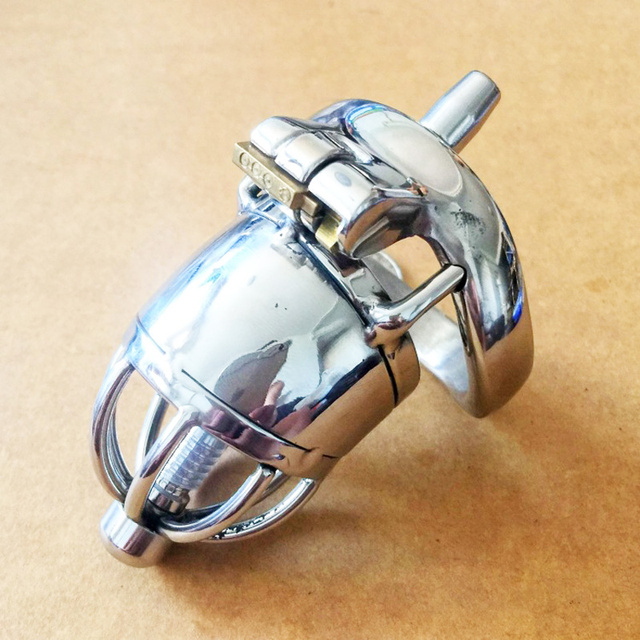 Short Chastity Cage Small Size Male Chastity Device stainless steel metal catheter penis lock chastity urethral penis ring belt