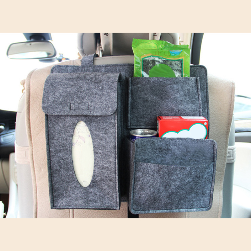 Punctual Car Storage Bag Universal Seat Back Organizer Bags Felt Backseat Holder Multi-pockets Container M8617 Aesthetic Appearance