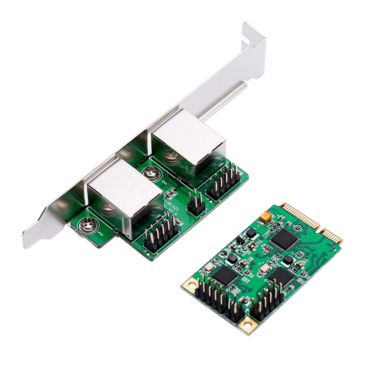 Realtek Chip Mini PCI Express Dual Port Gigabit Ethernet With 2 RJ45 Port Controller Card
