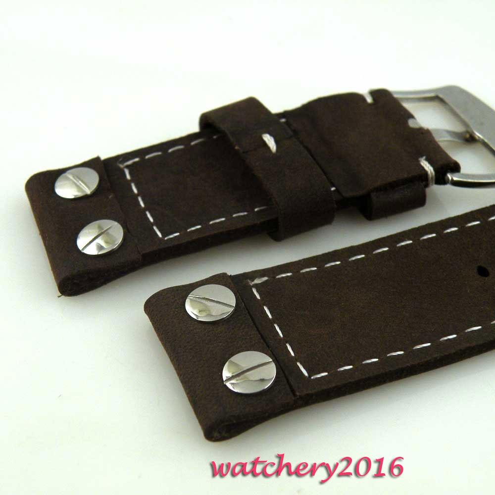 28mm vache noire bracelet lourd montre en cuir points blancs pour hommes militaires - 3