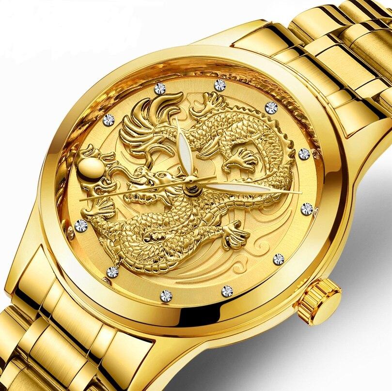Moda pulseira de aço relógio de luxo homem dragão criativo quartzo-relógio casual masculino masculino relógio de pulso de negócios