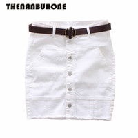 THENANBURONE Long Sexy Office Button White Pencil Skirt 2017 Summer Woman Casual Jeans Skirt Women High